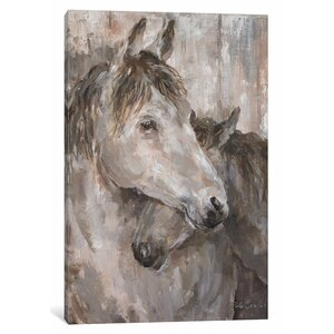 'Tender Farmhouse Horse' Painting Print on Canvas by East Urban Home