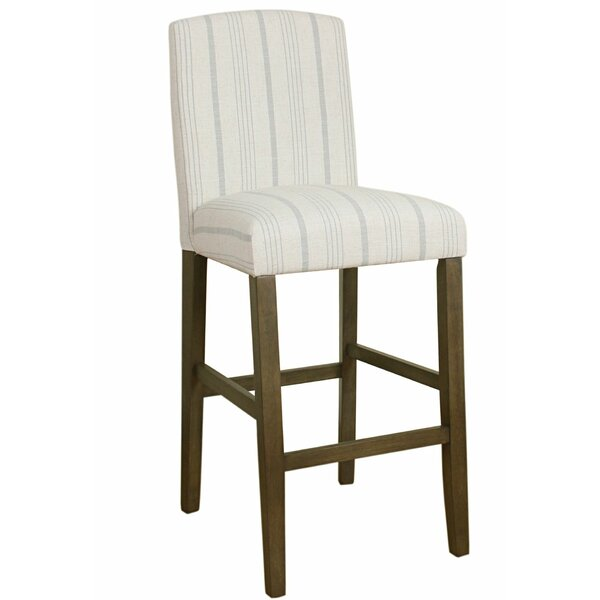 Destini Fabric Upholstered Wooden Bar Stool by Highland Dunes
