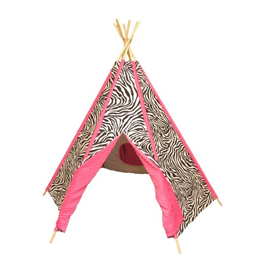 Hot Pink Zebra Pop-Up Play Teepee with Carrying Bag by Ozark Mountain Kids