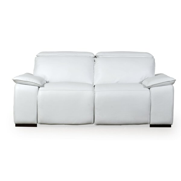 Clarksburg Motorized Genuine Leather Reclining Loveseat by Orren Ellis