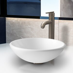 White Phoenix Stone Circular Vessel Bathroom Sink