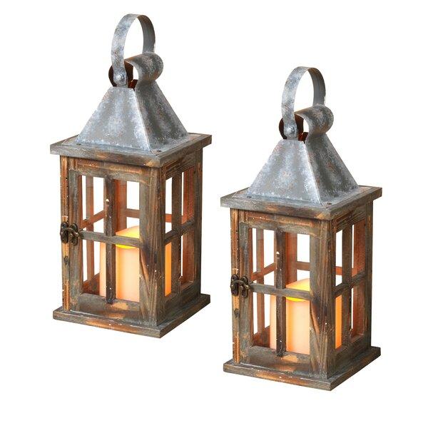 Wood Lantern (Set of 2) by Gerson International