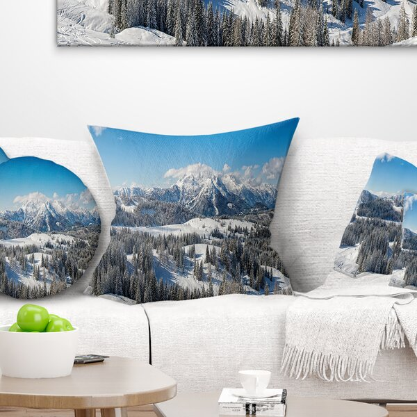 Landscape Printed Austrian Alps Winter Panorama Pillow by East Urban Home