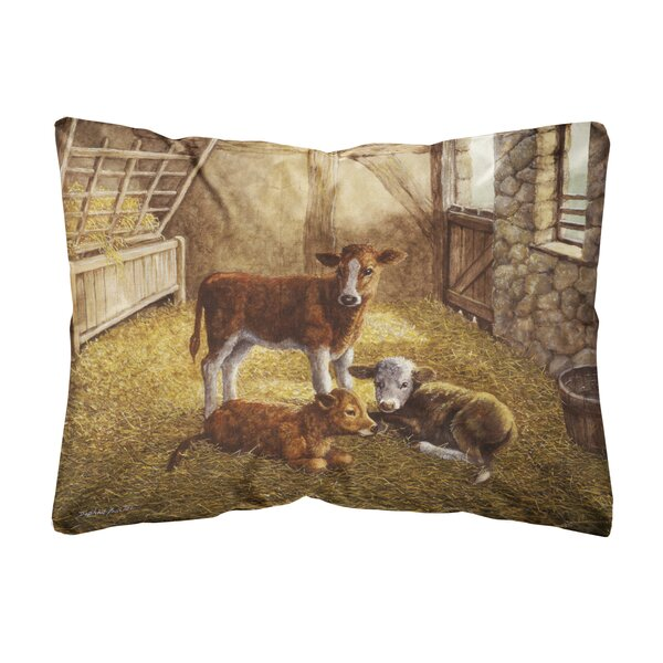 Sibert Cows Calves in the Barn Fabric Indoor/Outdoor Throw Pillow by Winston Porter
