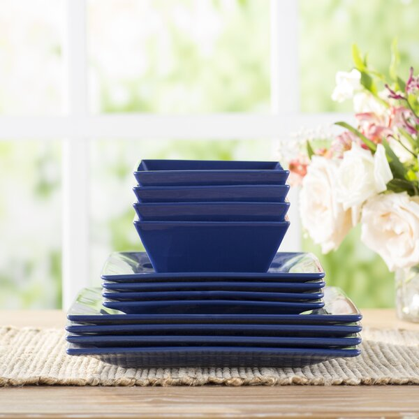 Wayfair Basics 12 Piece Stoneware Square Dinnerwar