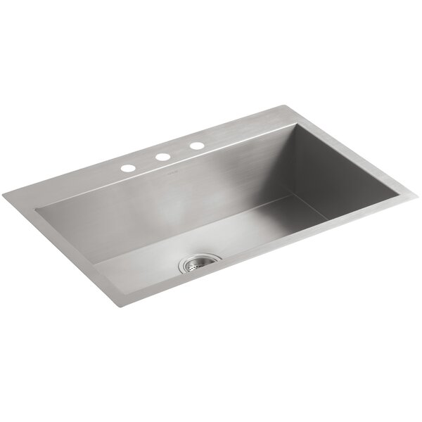 Vault 33 L x 22 W x 9.31 Top-Mount/Under-Mount Large Single-Bowl Kitchen Sink with 3 Faucet Holes by Kohler