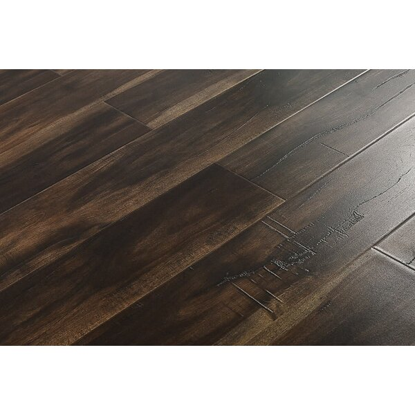 Arleta 6 x 48 x 12mm Walnut Laminate Flooring in Smokey Dark Brown by Serradon