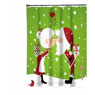 Compare prices Kissing Mr. and Mrs. Santa Claus Christmas Fabric Shower Curtain ByThe Holiday Aisle