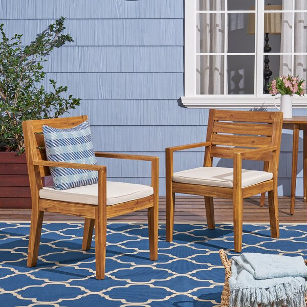 Cambon Patio Dining Chair with Cushion (Set of 2) by Bay Isle Home