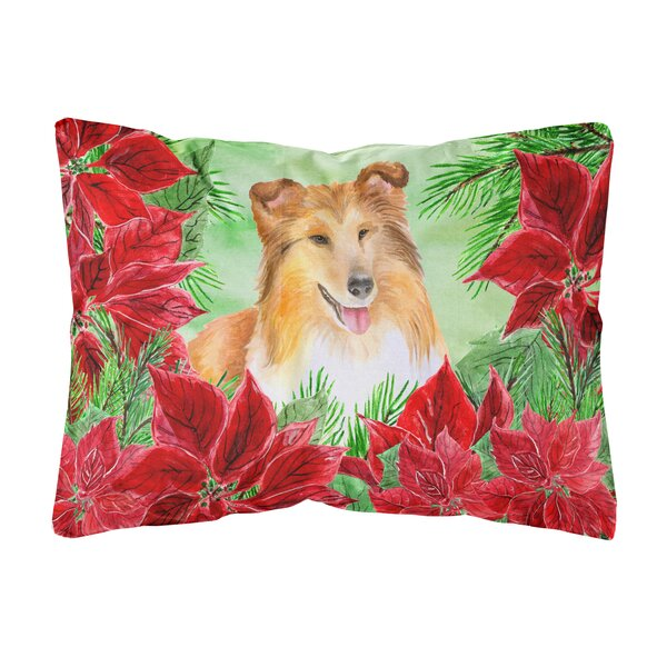 Farragut Sheltie Poinsettias Indoor/Outdoor Throw Pillow by The Holiday Aisle