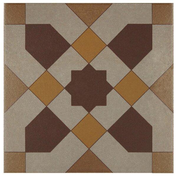 Cementa 7 x 7 Ceramic Tile in Burgundy/Gold/Tan by EliteTile