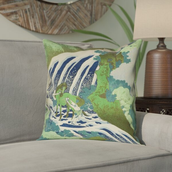 Yasmina Double Sided Horse and Waterfall Linen Pillow Cover by Bloomsbury Market