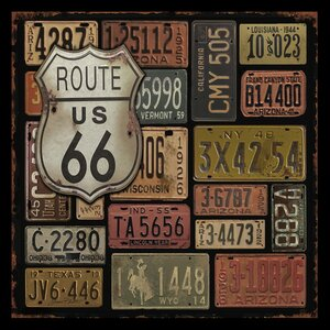 'Route 66 US Highway License Plates Design Collage' by Jean Plout Framed Textual Art by Buy Art For Less