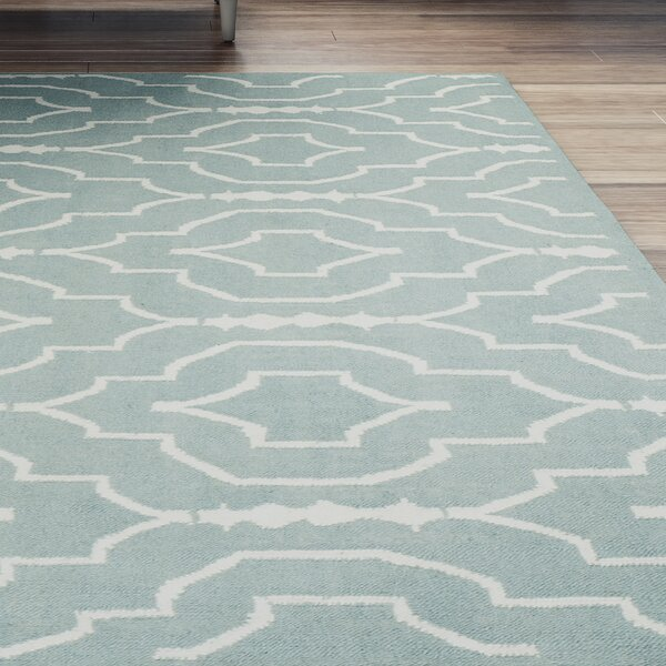 Masaryktown Hand-Woven Wool Light Blue/Ivory Area Rug by Beachcrest Home
