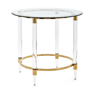 Dessanto Acrylic and Stainless Steel Accent End Table By Nakasa