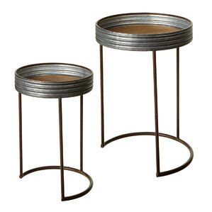 Elsworth Galvanized Round 2 Piece Nesting Tables by Gracie Oaks