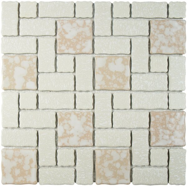 Pallas Random Sized Porcelain Mosaic Tile in Bone by EliteTile