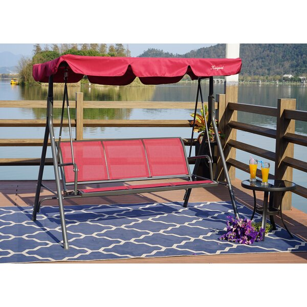 Decatur 3 Person Outdoor Porch Swing With Stand By Rosalind Wheeler