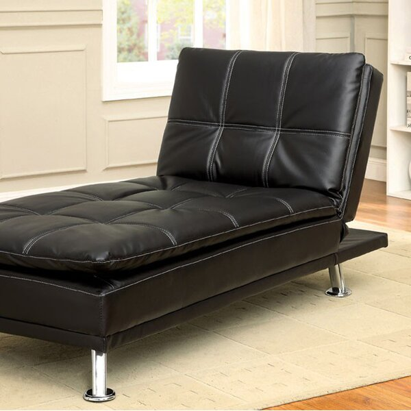 Ristaino Contemporary Leather Chaise Lounge by Latitude Run