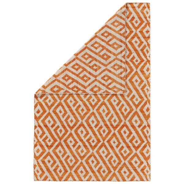 Reiber Hand-Woven Wool Orange/Natural Area Rug by Bloomsbury Market