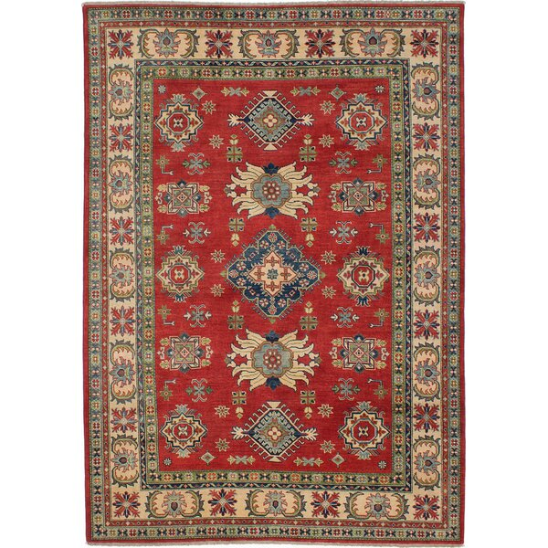 One-of-a-Kind Bernard Hand-Knotted Wool Red/Ivory Area Rug by Bloomsbury Market