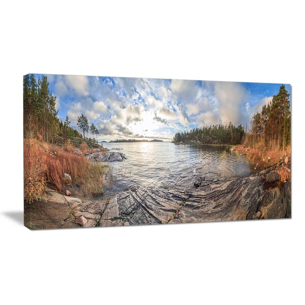 Rocky Coast of Autumn Lake Photographic Print on Wrapped Canvas by Design Art