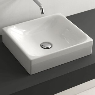 Best Choices Minimal Ceramic Rectangular Vessel Bathroom Sink with Overflow ByWS Bath Collections