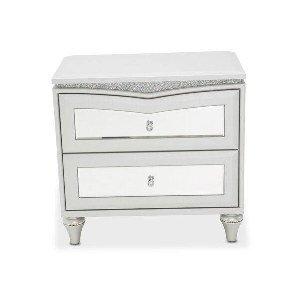 Melrose Plaza Upholstered 2 Drawer Nightstand By Michael Amini by Michael Amini Design