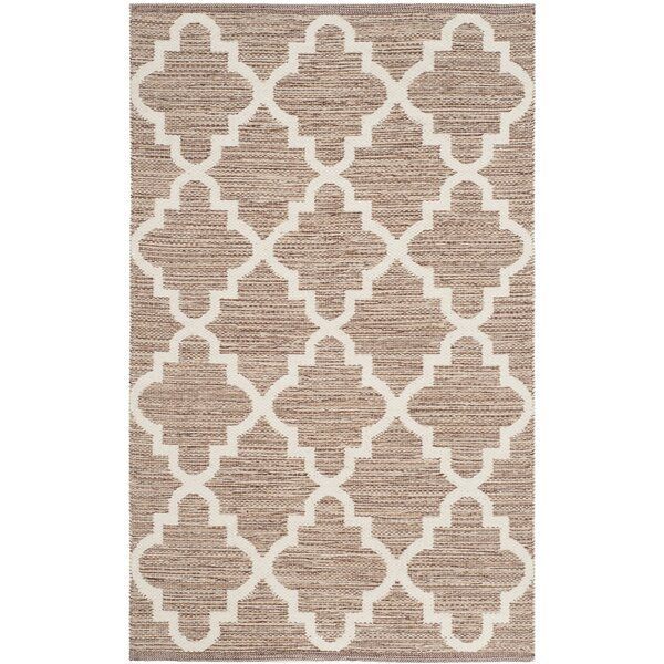 Eberhardt Hand-Woven Beige/Ivory Area Rug by Three Posts