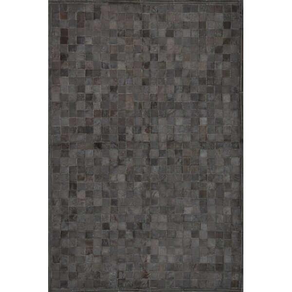 One-of-a-Kind Klahr Hand-Woven Cowhide Black Area Rug by Latitude Run