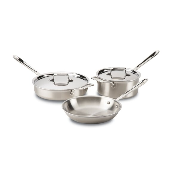 D5 Brushed Stainless Steel 5 Piece Pan Set by All-Clad