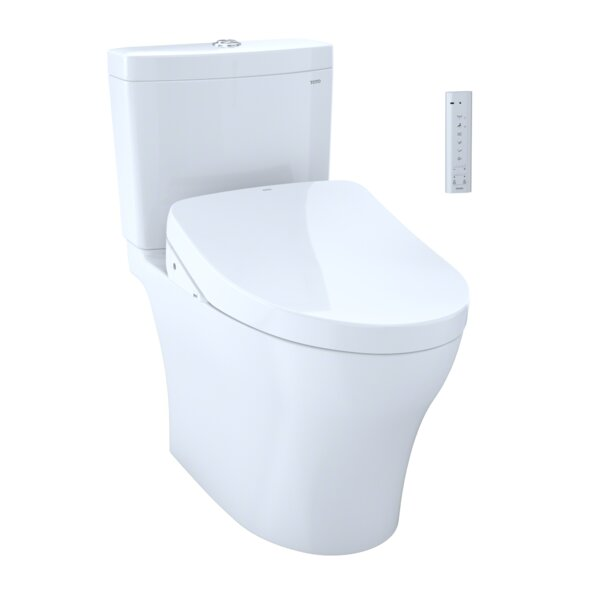 Aquia IV Dual Flush Elongated Two-Piece Toilet with Ewater+ by Toto