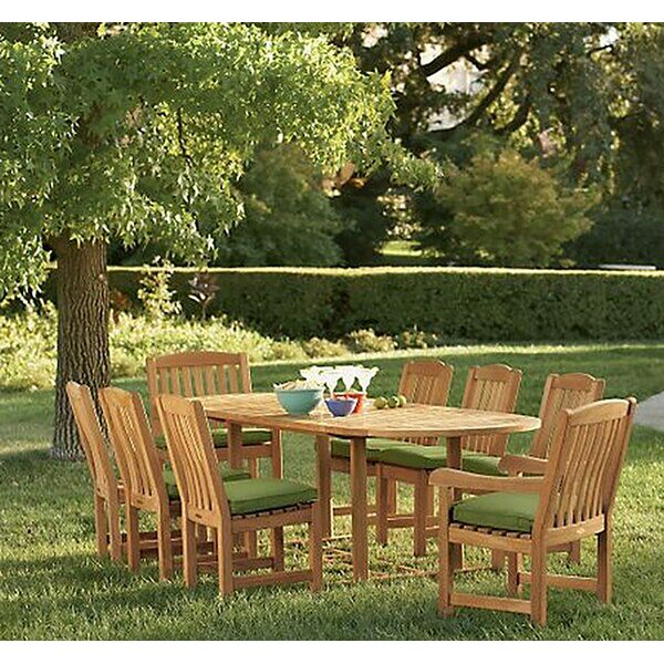 Dunshee Luxurious 9 Piece Teak Dining Set by Rosecliff Heights