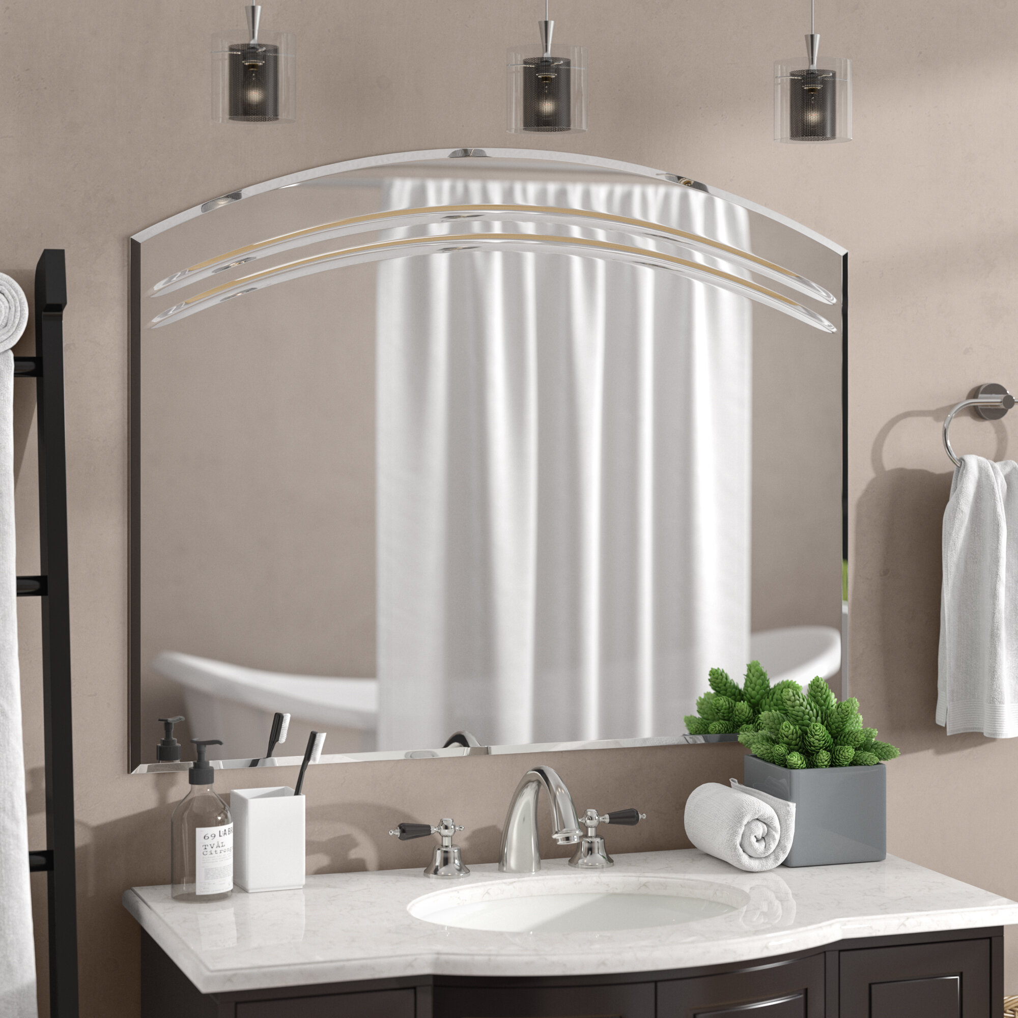 Rosecliff Heights Wallingford Large Frameless Wall Mirror & Reviews ...