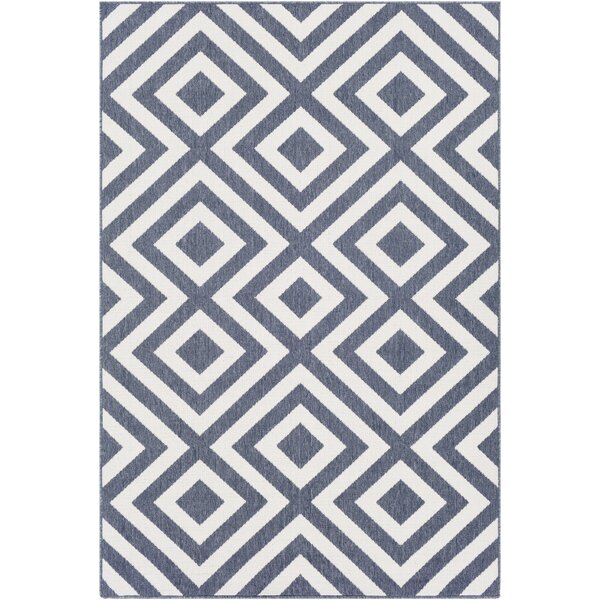 Idabel Geometric Blue Indoor/Outdoor Area Rug by Brayden Studio