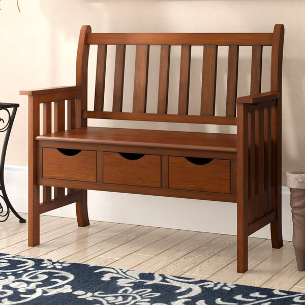 Mcniel Wood Storage Bench by Three Posts