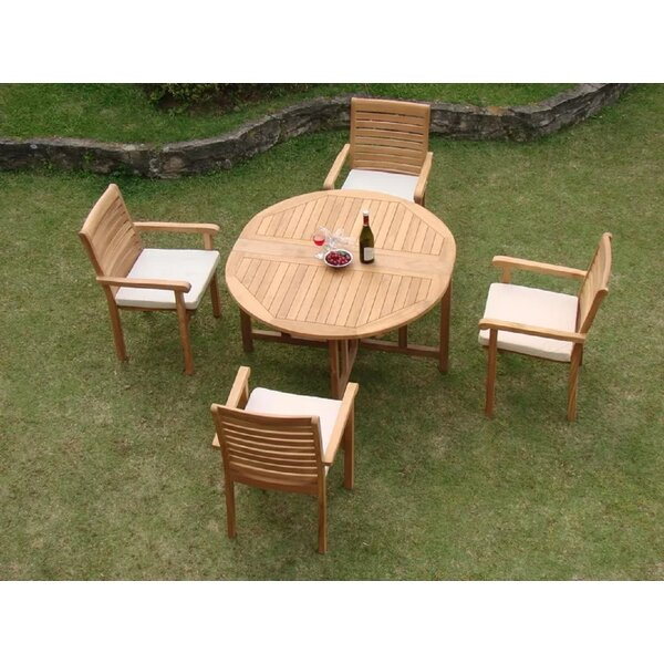 Holyoke Luxurious 5 Piece Teak Dining Set by Rosecliff Heights