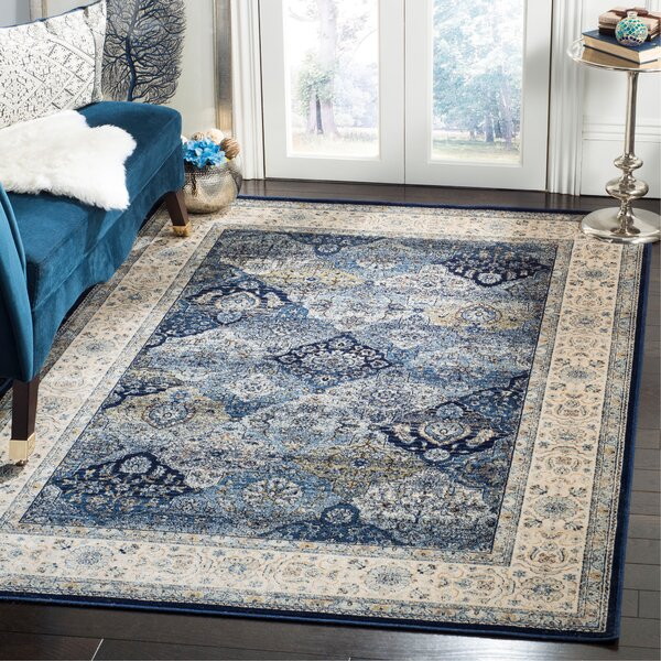 Persian Garden Vintage Navy/Ivory Area Rug by Darby Home Co