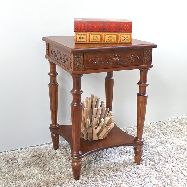 Barron Hand Carved End Table With Storage By Astoria Grand