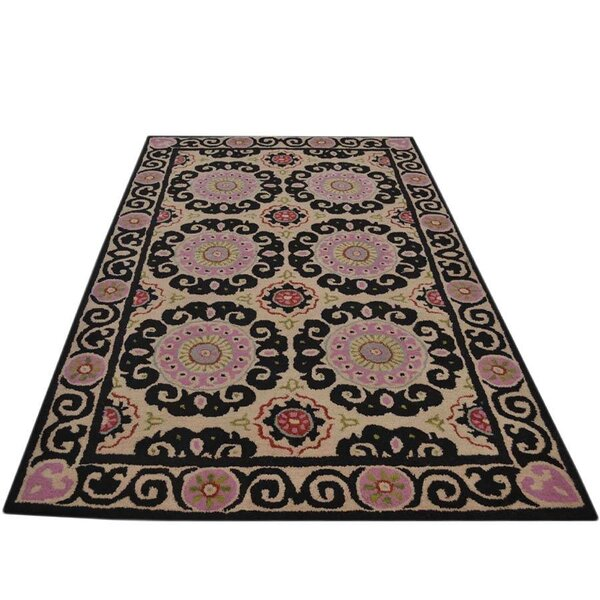 Creager Hand-Tufted Wool Beige/Pink/Black Area Rug by Winston Porter