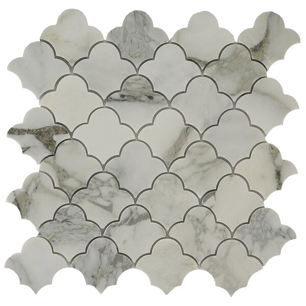 Antelope Cloudia 2 x 2 Marble Mosaic Tile in White/Tan by Byzantin Mosaic