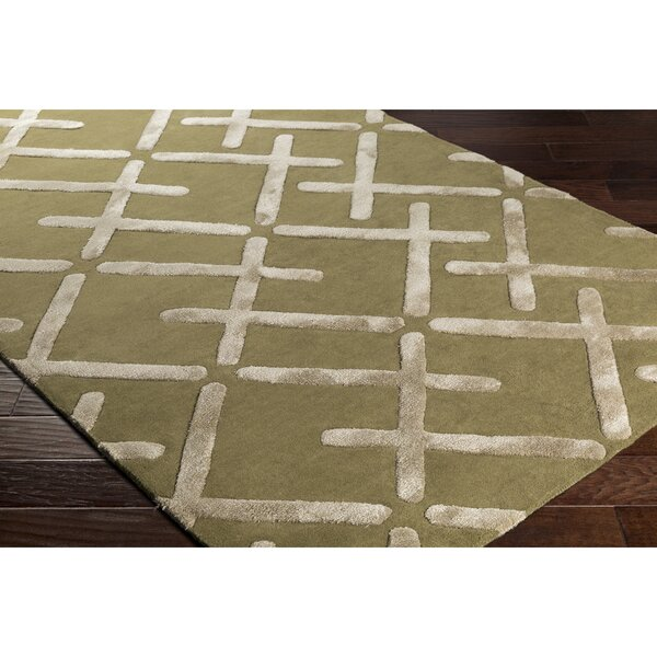 Vazquez Hand-Tufted Green/Neutral Wool Area Rug by Wrought Studio