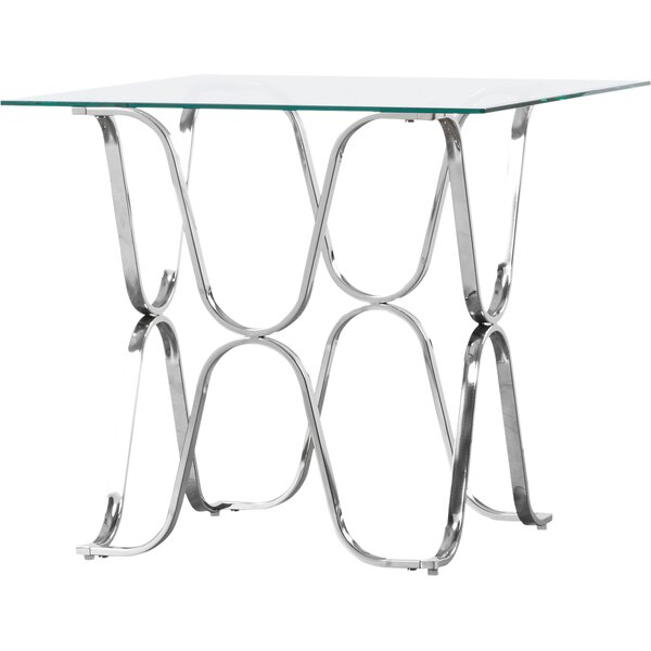 Arylide Glass Top Cross Legs End Table By House Of Hampton