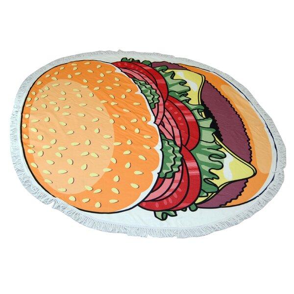 Hamburger Round Beach Towel by Ebern Designs
