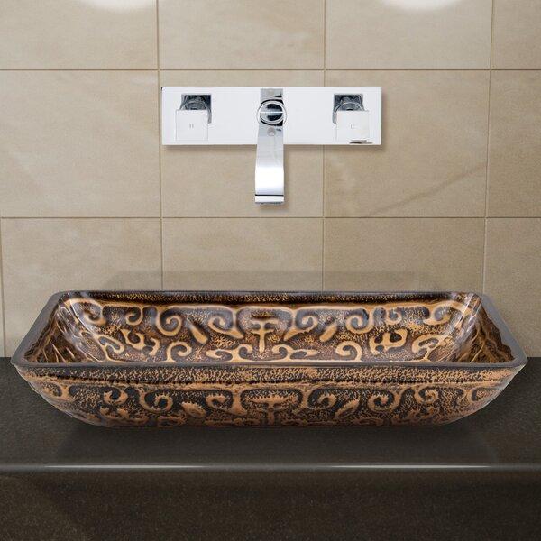 Greek Glass Rectangular Vessel Bathroom Sink with Faucet by VIGO