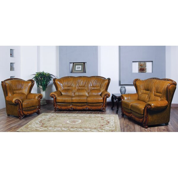 Reuter 3 Piece Leather Living Room Set by Canora Grey