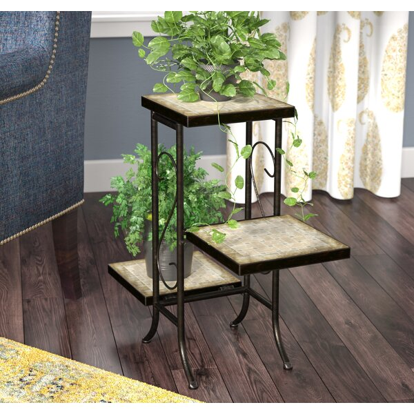 Noreen Multi-Tier Plant Stand With Travertine Top By Fleur De Lis Living