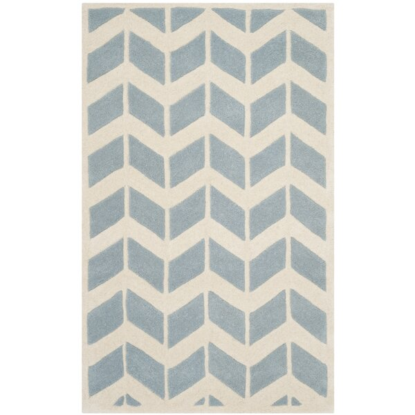 Wilkin Blue / Ivory Moroccan Area Rug by Wrought Studio