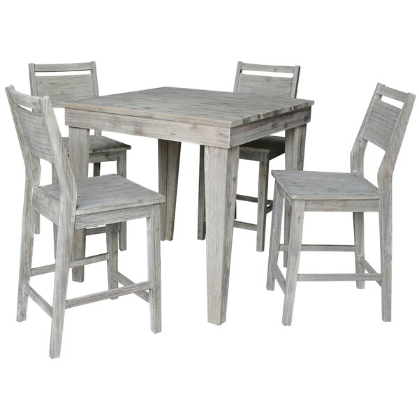 Gammons Solid Wood Counter Height 5 Piece Pub Table Set By Gracie Oaks Top Reviews