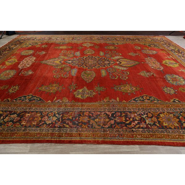 One-of-a-Kind Skillern Hand-Knotted 1920s Sultanabad Red/Brown 12'1 x 14'9 Wool Area Rug